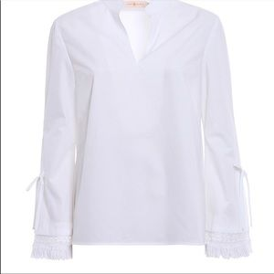 Tory Burch White Sophie Top New with Tags Size 0.